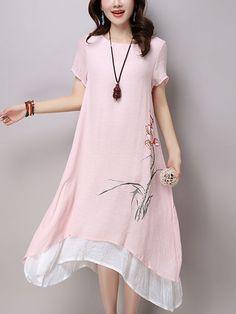 Round Neck Asymmetric Hem Floral Blend Maxi Dress