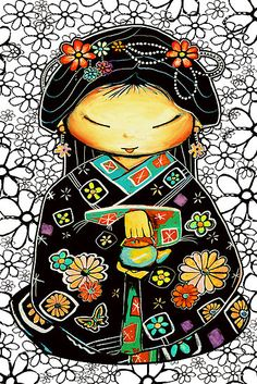 cute kokeshi with flower doodle background – i love the color combo