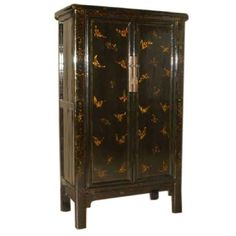 Black Lacquer Armoire With Gold Gilt Butterfly Motif