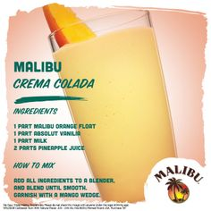 Malibu Orange Float and Absolut Vodka make this fruity blended cocktail extra fun!