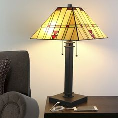 """24""""H Craftsman USB Stained Glass Table Lamp"""