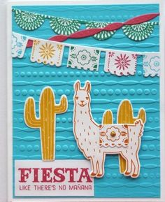 Card making kit of 4 Fiesta Birthday Congrats Here's To You Stampin Up! #StampinUp