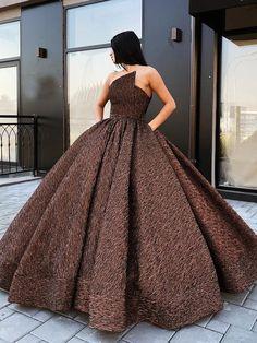 A-Line Princess Strapless Brown Floor Length Prom Dress with Pocket,strapless prom dress,brown prom dress Brown Prom Dresses, Sparkly Prom Dresses, Prom Dresses With Pockets, Orange Braun, Dress Outfits, Fashion Dresses, Dress Shoes, Elegant Dresses, Formal Dresses