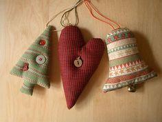 Handmade eлочные игрушки: елка, сердце, колокольчик