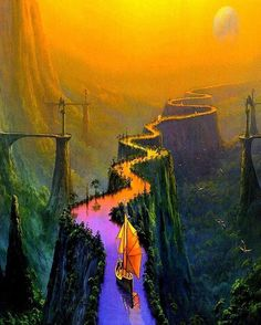 """Arcimboldo (@arc1mboldo) on Instagram: """"Can't describe the feeling this picture emits in words. #art #psychedelic #path #river #ship…"""""""