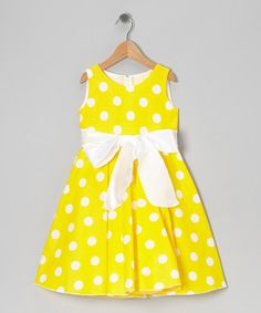 This Yellow Polka Dot Bow Dress - Infant, Toddler & Girls by Kid Fashion is perfect! #zulilyfinds