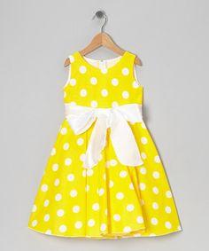 Kid Fashion Yellow Polka Dot Bow A-Line Dress - Infant, Toddler & Girls Toddler Girl Dresses, Little Girl Dresses, Toddler Outfits, Kids Outfits, Girls Dresses, Toddler Girls, Infant Toddler, Infant Dresses, Fashion Kids