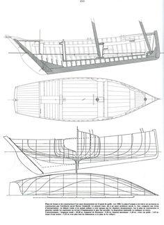 """Plans of a Douarnenez """"canot sardinier"""", c.1900   .                                                                                                                                                                                                                          Published in """"Ar Vag, Voiles au Travail en Bretagne atlantique"""", tome I, Sardiniers et Thoniers"""