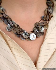 Button Necklace  Use new, vintage, or unused buttons of all shapes and sizes to make your own stunning jewelry.