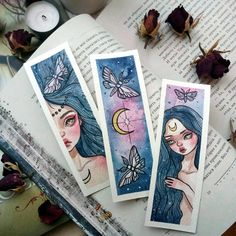 Handmade Watercolor Bookmarks To Buy, To Make, and To Print Watercolor Bookmarks, Watercolor Art, Art Inspiration Drawing, Art Inspo, Drawing Sketches, Art Drawings, Art Du Croquis, Arte Fashion, Arte Sketchbook