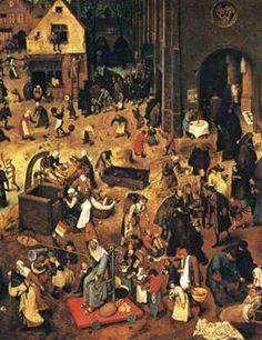 Pieter Bruegel the Elder (Flemish: 1525-1569) | The Fight between Carnival and Lent |right half