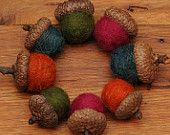 Felted Acorns in Fall Colors,  Set of 12 Ornaments. $24.00, via Etsy.