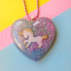 Big Unicorn Heart Necklace Kawaii Resin Cute by FrostedSoSweet