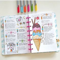 I love this spread! It is from Lauren Schultz.journal and it is the cutest!! Check out their #bujo spreads!