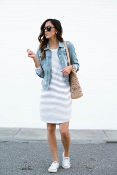 Who can say no to a stripe dress? If you're raising your hand right now, I need to know your secret. I'm styling my latest favorite on the blog today! Spring Outfit Women, Modest Summer Outfits, Casual Summer Outfits For Women, Casual Dress Outfits, Cute Outfits, Spring Fashion Casual, Outfits For Spring, Spring Clothes, Outfit Summer