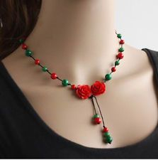 fashion ethnic necklace vintgae jewelry rose necklace red