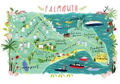Illustrated A3 Map of Falmouth Cornwall UK. par clairrossiter
