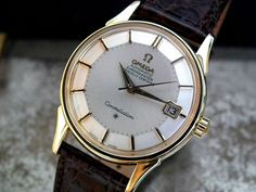BEAUTIFUL 1965 SOLID 18CT GOLD OMEGA CONSTELLATION PIE PAN GENTS VINTAGE WATCH-4600 EURO