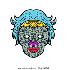 Mono line illustration of a female calavera or sugar skull, an edible decorative skull made from sugar or clay used in Mexican celebration of the Day of the Dead or Dia de Muertos in monoline style. Mexican Celebrations, Line Illustration, Line Sticker, Sugar Skull, Royalty Free Stock Photos, Lion Sculpture, Clay, Statue, Female