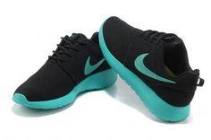 Nike Roshe Run Womens Black Cyan Blue Mesh Shoes