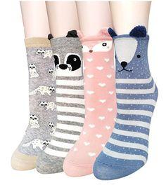 Cute Animal Pattern Casual Cartoon Crew Socks