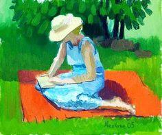 Mulher lendo, 2005 Alex Cree ( Inglaterra, contemporâneo)  —-