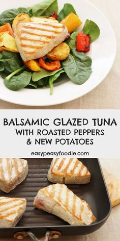 One of the simplest yet most delicious meals EVER, Balsamic Glazed Tuna with Roasted Peppers and New Potatoes involves simply roasting peppers and new potatoes and pan frying tuna steaks. All served on a bed of fresh spinach and drizzled with a simple balsamic glaze. #tuna #freshtuna #tunasteaks #tunarecipes #glutenfree #dairyfree #easyentertaining #easymidweekmeals #easymeals #midweekmeals #easydinners #dinnertonight #dinnertonite #familydinners #familyfood #easypeasyfoodie Entree Recipes, Fish Recipes, Easy Dinner Recipes, Seafood Recipes, Easy Meals, Healthy Recipes, Vegetable Recipes, Healthy Meals, Healthy Food