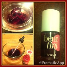 """Make your own organic """"Benetint"""" ~ 1 small beet chopped, 1 pinch dried Hibiscus Flowers, 2 TBS Vegetable Glycerine. Place in double boiler for 30 mins to simmer. Bottle in your old Benetint bottle! Stain is beautiful on cheeks and lips! Easy and NO chemicals!"""