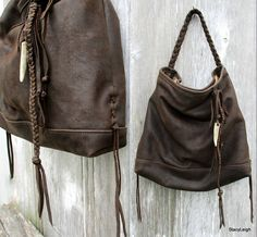 Antiqued Leather Bag in Dark Brown Rustic Leather by Stacy