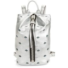 Aimee Kestenberg Tamitha Mini Leather Eye Backpack ($178) ❤ liked on Polyvore featuring bags, backpacks, silver, real leather backpack, genuine leather backpack, leather knapsack, mini bag and mini leather backpack