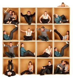LOVE THIS idea. One cardboard box and then all the individual photos were Photoshopped together. Brilliant.