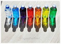 bouteilles colorées / activité Montessori (12/18 mois):