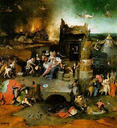 Hieronymus Bosch, Las Tentaciones de san Antonio,Tabla central, 1501 o después; Óleo sobre tabla, 131 cm × 238 cm. Museo Nacional de Arte Antiguo, Lisboa.