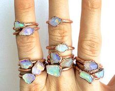 Raw opal ring Rough opal ring Rough opal jewelry by HAWKHOUSE