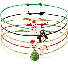 Accessorize 5 x Christmas Novelty Friendship Bracelet ($12) ❤ liked on Polyvore featuring jewelry, bracelets, accessorize jewellery, christmas jewelry, christmas charms, friendship bracelet and charm jewelry