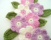 Crochet flower 9 pcs and 9 leaves, bicolor, 100% cotton quality yarn, applique