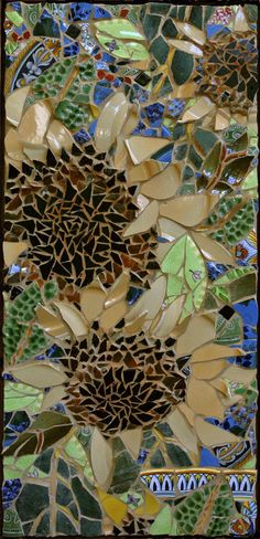 Potted Sunflower,  Mosaic Panel framed in Wormy Chestnut  38 x 17inches  www.theresedesjardinstudio.com