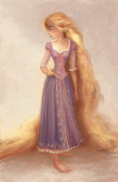 An adorable painting of Repunzel