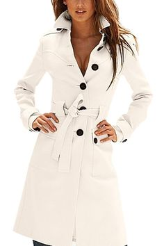 Love! Love! Love! Want! Want! Want! Black and White Long Sleeves With Belt Trench Coat Outerwear Fashion #Black_and_White #Trench_Coat #Fashion