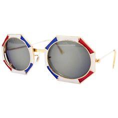 f7de0d014375a Important 1960s Christian Dior Octagonal Red White   Blue Enamel Sunglasses  1 Heart Shaped Sunglasses