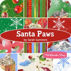 Santa Paws Yardage Sarah Summers for Quilting Treasures Fat Quarter Shop, Christmas Fabric, Winter Theme, Quilt Patterns, Dinosaur Stuffed Animal, Quilting, Fabrics, Santa, Pets