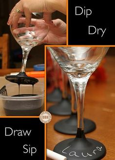 Chalkboard Glasses- good idea for Parties!