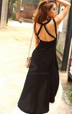 Slim Fit Plunging Neck Sexy High-Low Hem Black Sundress For Women (BLACK,ONE SIZE)   Sammydress.com