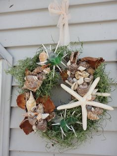 Beachy Shell crafted wreath--make for front door or for Christmas???