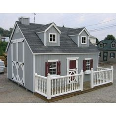 Large 10 x 12 Cape Cod Playhouse Kit with No Floor Chimney: Yes, Deck and Painted Rail: Yes, Loft: No:Amazon:Toys & Games