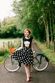 t-shirt and full skirt with a pop of color