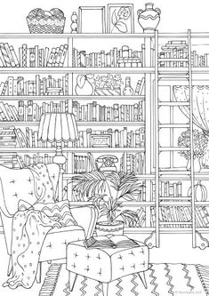 Are you a book nerd? Would you like to have a library in your home? Then this adult coloring page is perfect for you.