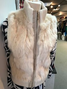 Women's Love Token Cream Rabbit Fur Vest - Size S #LoveToken #Sleeveless