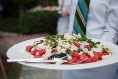 Watermelon Salad with Jicama, Feta, and Mint - Summer Wedding Menu Caprese Salad, Cobb Salad, Summer Wedding Menu, Cocktail Recipes, Cocktail Food, Yosemite Wedding, Watermelon Salad, Feta, Mint