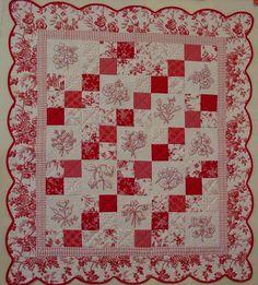 Redwork Romance quilt
